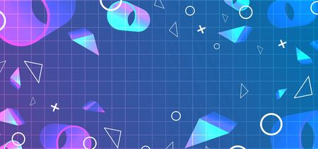Retro background abstract with geometric decoration neo memphis geometric elements.