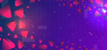 Triangular background. Abstract composition of 3d triangles. 3D vector illustration . Futuristic geometric background. Orange violet three-dimensional triangle in blue space. Neo memphis style. Illustration