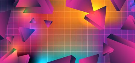 Sci-Fi background with geometric triangle 3d style on neo memphis glowing colorful vector illustration