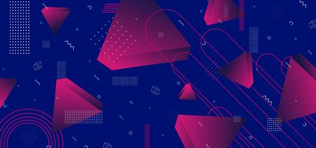 Triangular background. Abstract composition of 3d triangles. 3D vector illustration . Futuristic geometric background. Neo memphis three-dimensional triangle in space. Illustration