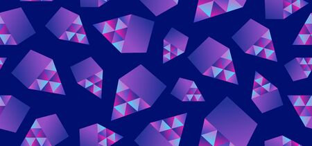 Geometric triangle abstract seamless pattern background trendy blue colors style with memphis 80s, 90s design. Иллюстрация