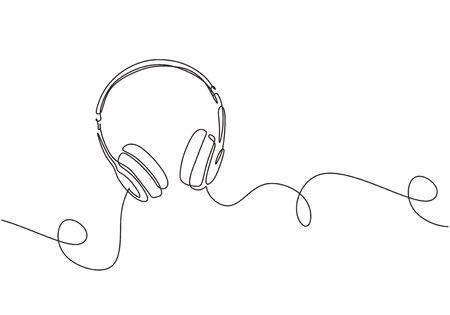 un dibujo de línea del diseño de lineart continuo del gadget del dispositivo del altavoz del auricular aislado en el fondo blanco. Elemento musical para escuchar canciones y listas de reproducción.
