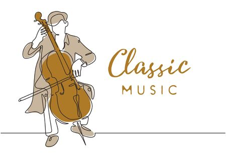 Classic music poster background with cello music player vintage minimalism style of continuous one line drawing vector illustration. Young man playing classical songs on the stage. 矢量图像