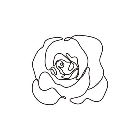 Flower continuous one line art drawing vector illustration. Awesome rose bud isolated on white background.