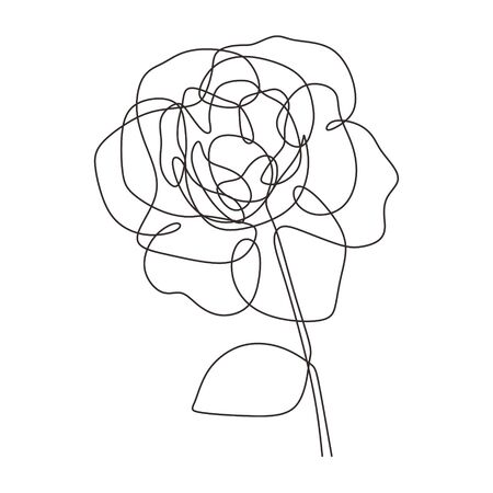 Rose flower one line vector minimalism drawing style simplicity design