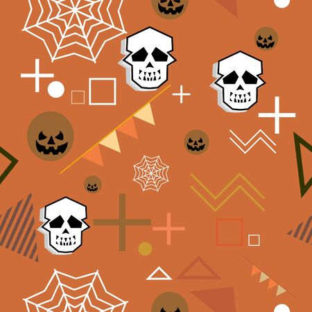 Trendy geometric funny halloween monster with cute horror colorful seamless pattern vector. Creative unusual character for kids and baby textile fashion print illustration background. Vectores