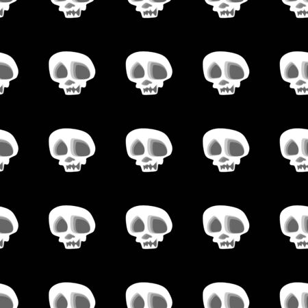 Seamless skull head skeleton in black and white pattern for fashion textile and wrapping background illustration. Stockfoto - 129613950