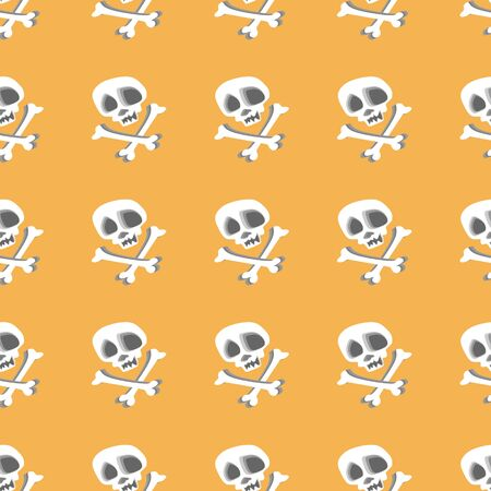 Seamless skull head skeleton isolated on pale yellow background pattern for fashion textile and wrapping illustration.