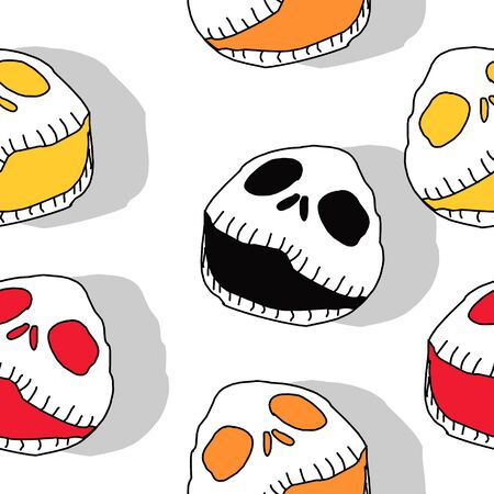 Seamless pattern of creepy cute halloween monster. Scary reaper bone head vector illustration ready for print and fashion textile.