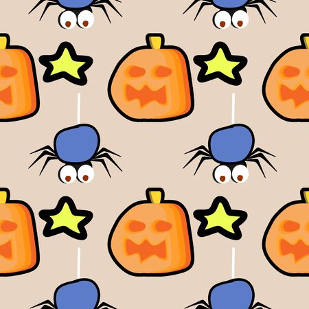Fun halloween pattern with seamless spider, pumpkin, and stars background multicolor. Trendy creative vector illustration for baby, kids, and children fashion textile print and wrapping.