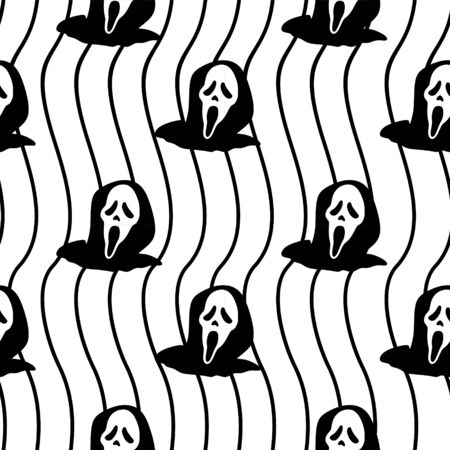 Spooky halloween ghost seamless pattern with silhouette horror creature trendy background. Vector illustration ready for children fashion print and wrapping. 向量圖像