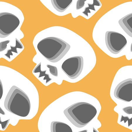 Vector scary skeleton skull head pattern with multicolor baby fashion art style for print and wrapping. Stockfoto - 129613036