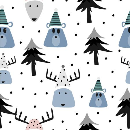 Cute christmas pattern with bear and reindeer funny character seamless drawing in blue colors vintage vector illustration for fashion textile print