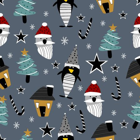 Seamless christmas pattern with cute penguin, tree, and santa claus drawing vector illustration.