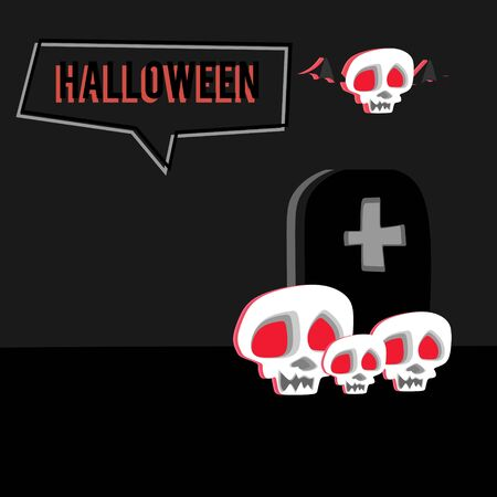 Halloween greeting design with skull head and cemetery. Creepy and very spooky banner poster design vector illustration.