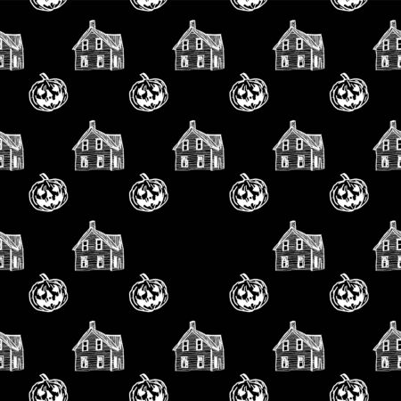 Halloween seamless pattern with haunted house and pumpkins monochrome black and white colors. Vector illustration ready for children fashion print and wrapping.