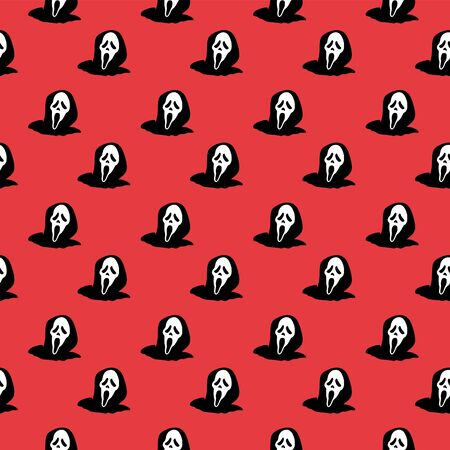 Spooky halloween ghost seamless pattern with silhouette horror creature trendy background. Vector illustration ready for cute children fashion print and wrapping.