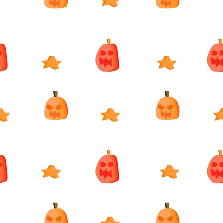 Trendy childish halloween pattern with pumpkin and star seamless background vector.
