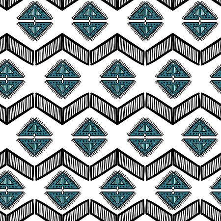Aztec hand drawn pattern with bohemian style drawing