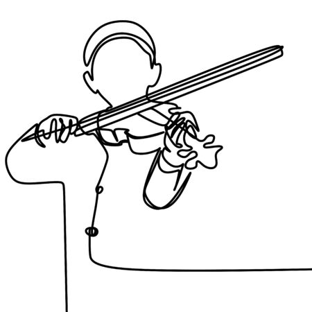 Violin music player with single continuous one line art vector Stock Illustratie