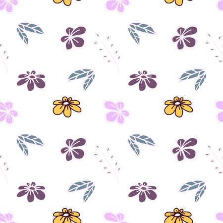 Trendy children drawing flower seamless pattern vector illustration background for wallpaper and textile print. Good for baby fashion scandinavian style multicolor awesome handdrawn. 写真素材 - 129612032