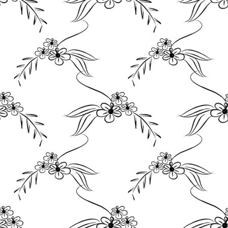 Scandinavian floral seamless pattern isolated on white background. Minimalist trendy european design for wallpaper and fashion textile print. 스톡 콘텐츠 - 129473872