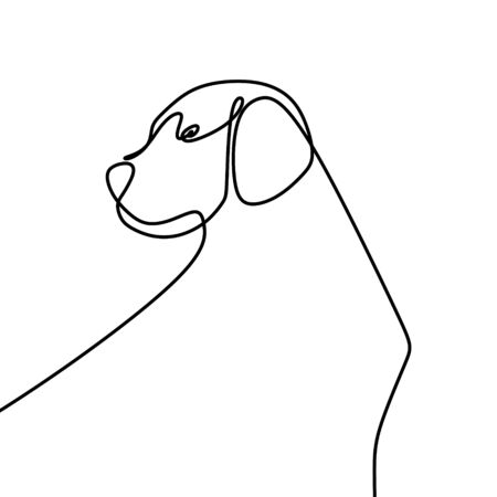One line drawing of a dog face vector illustration isolated on white background
