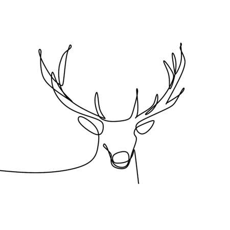 Deer one line drawing vector