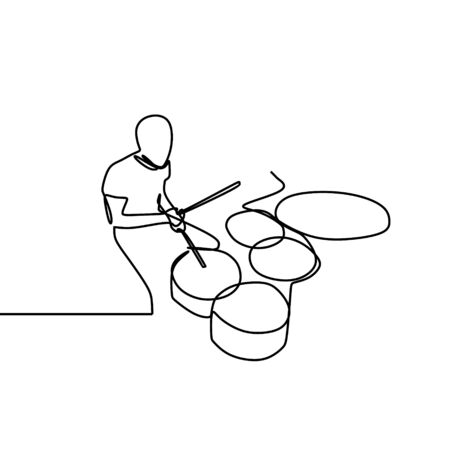 One line drawing of a man playing drum isolated on white background. A drummer person with continuous single lineart vector.  イラスト・ベクター素材