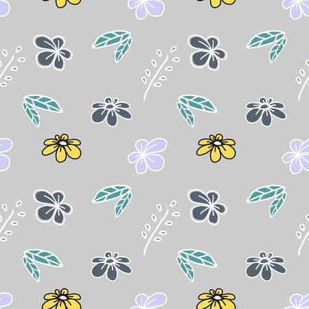 Trendy children drawing flower seamless pattern vector illustration background for wallpaper and textile print. Good for baby fashion scandinavian style multicolor awesome handdrawn. 写真素材 - 129611822