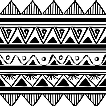 Vector tribal pattern with ethnic drawing in black and white. Good for your textile fashion wrapping and print.