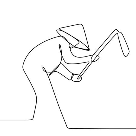 One line drawing of a local farmer or peasants juggle the land with hoe vector illustration.