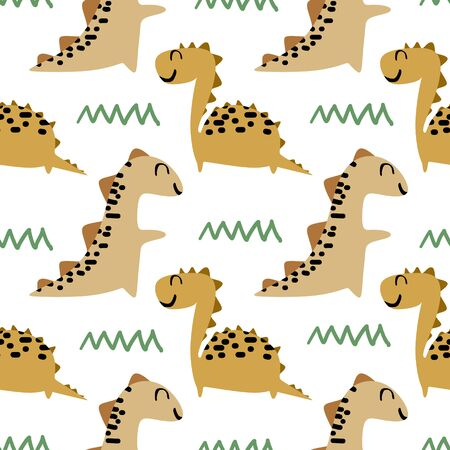 Dino seamless pattern vector with childish drawing style ready for print.