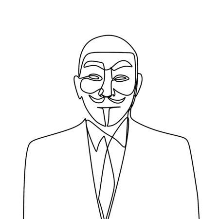Un dibujo de una cara anónima. Retrato de cerca de un hacker con lineart continuo único aislado sobre fondo blanco. Ilustración de vector