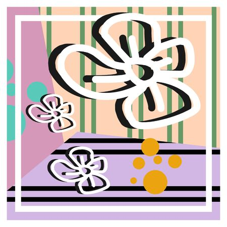 Trendy hijab pattern vector. Contemporary silk scarf design with abstract brush and flowers