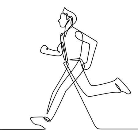 Continuous one single line art drawing of a running man vector illustration