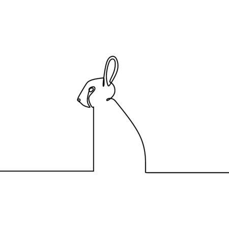 Conejo una ilustración de vector de dibujo de arte de línea continua