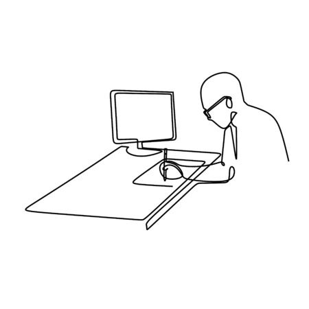 one line drawing vector of a man working something with his notebook and computer. Smart person creative single lineart. Illustration