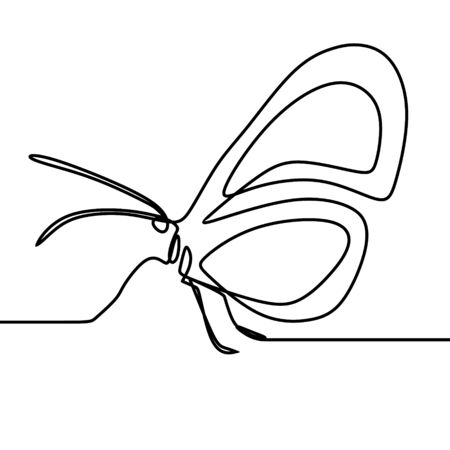 Butterfly drawing vector using continuous single one line art style isolated on white background. Иллюстрация