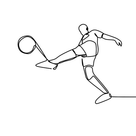 one line of a football player vector illustration with minimalist continuous drawing style. A man kick a ball isolated on white background.