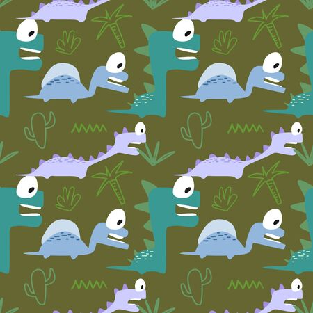 Vector cute dino seamless pattern. Hand drawn cartoon monster animal multicolor for fashion textile print.