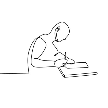 One line drawing of a man writing on the paper, study and learn something.