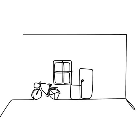 Simple house indoor with bicycle, window, and door. one line drawing minimalist style. Ilustrace