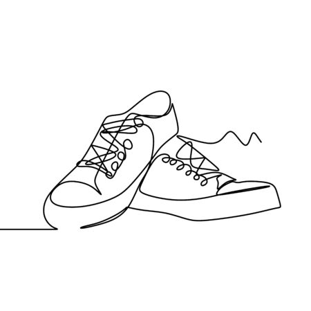 One line drawing of a shoes vector illustration