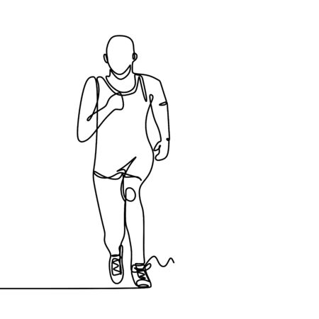 One line drawing of a runner man when doing sport. Stock fotó - 131973990