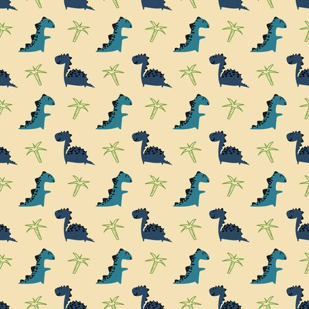 Colorful baby dino seamless pattern with cute childish drawing character for baby and kids fashion print illustration.