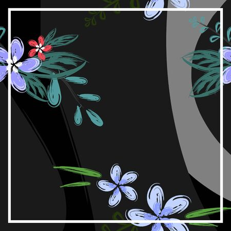 Flower handdrawn pattern with floral flower ornament neckerchief design background vector illustration for hijab scarf and bandana ready for print. Ilustracja