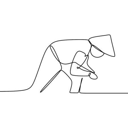 Un agricoltore coltiva una pianta di riso nel campo con uno stile di disegno artistico a linea continua isolato su sfondo bianco. Vettoriali
