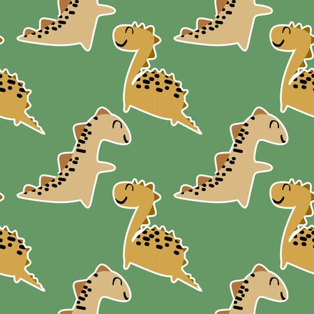 Cute baby dino seamless pattern with childish drawing style ready for print. Illustration