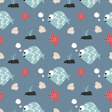 Vector cute fish seamless pattern for baby and kids.